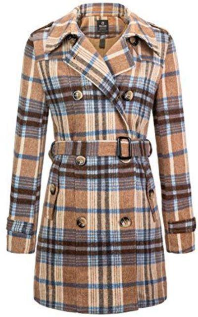 Wantdo Double Breasted Plaid Coat