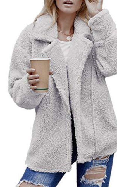 Acelitt Fuzzy Fluffy Fleece Zip up Jackets
