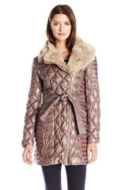 Via Spiga  Quilted Down Coat With Asymmetrical Zip and Faux-Fur Trim