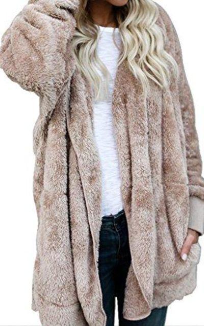 Annystore Open Front Cardigan Sherpa Fleece Jacket