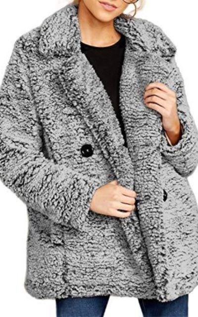 FARYSAYS Open Front Button Fleece Coats