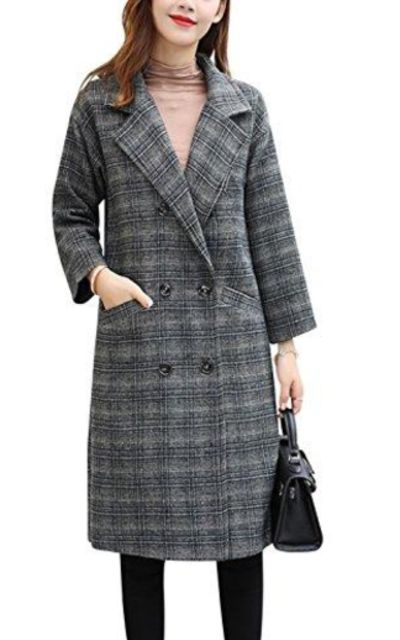 Tanming ]laid Wool Blend Pea Coat Outerwear