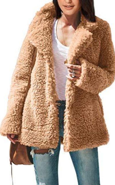 ROSKIKI Fleece Fuzzy Faux Shearling Jacket