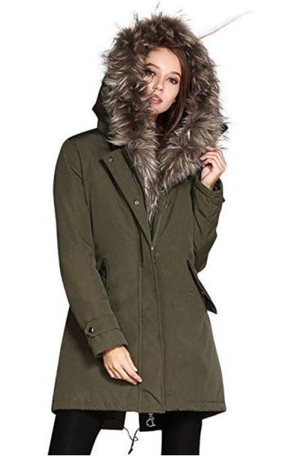 COUTUDI Faux Fur Hooded Coat