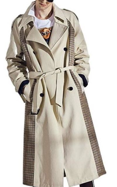 DUSHINAN Men's Double-Breasted Long Trench Coat with Belt