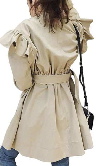 Simplee Trench Coat with Ruffle