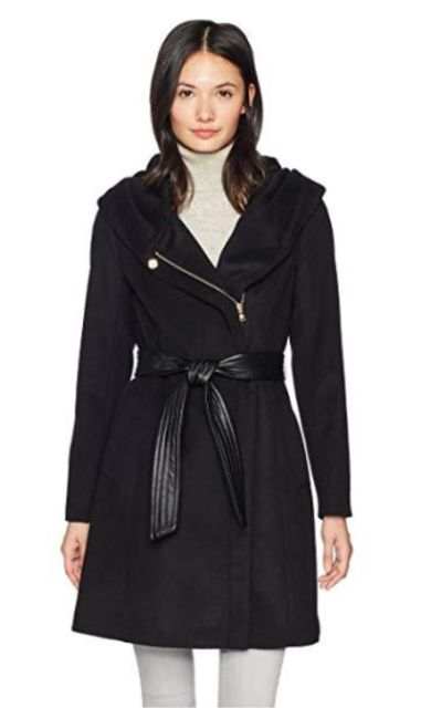Cole Haan Belted Asymmetrical Wool Coat Oversized Hood
