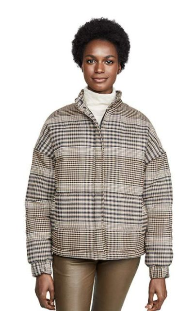 The Fifth Label Scale Check Puff Bomber Jacket