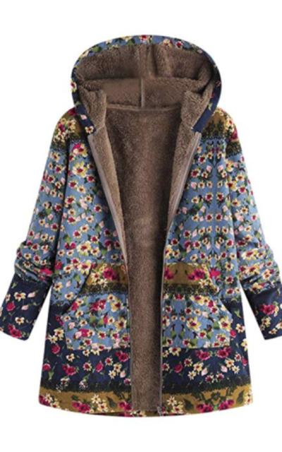 Floral Print Vintage Oversize Coat