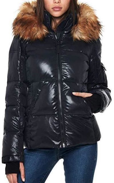 S13 Kelly Hip Length Down Puffer Faux Fur Hood