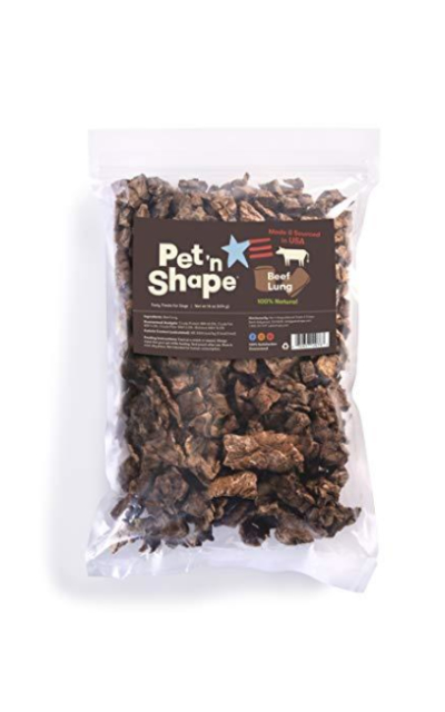 Pet 'n Shape - Made in USA - Beef Lung Bites or Steak Slices 100-Percent Natural Dog Treats