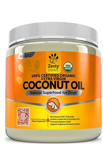 Zesty Paws Coconut Oil for Dogs - Anti Itch & Hot Spot Treatment - for Dry Skin on Elbows & Nose - Natural Digestive & Immune Support - 16 OZ