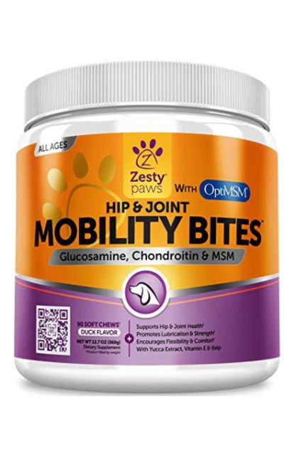 Zesty Paws Glucosamine for Dogs - Hip & Joint Supplement for Dog Arthritis Pain Relief - with Chondroitin & MSM - Advanced Natural Mobility Pet Soft Chews for Joints