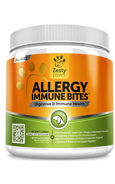 Allergy Immune Supplement for Dogs - With Omega 3 Wild Alaskan Salmon Fish Oil & EpiCor + Digestive Prebiotics & Probiotics - Seasonal Allergies + Anti Itch & Hot Spots Skin Support - 90 Chew Treats