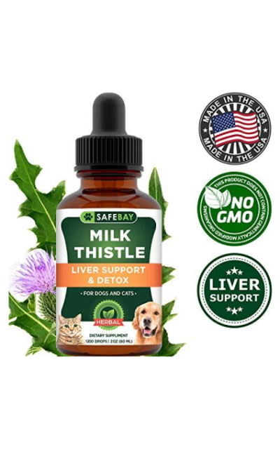 Safebay Dog Supplement and Cat Supplement - Milk Thistle 1200 Drops 2 Oz - 333mg Milk Thistle Extract