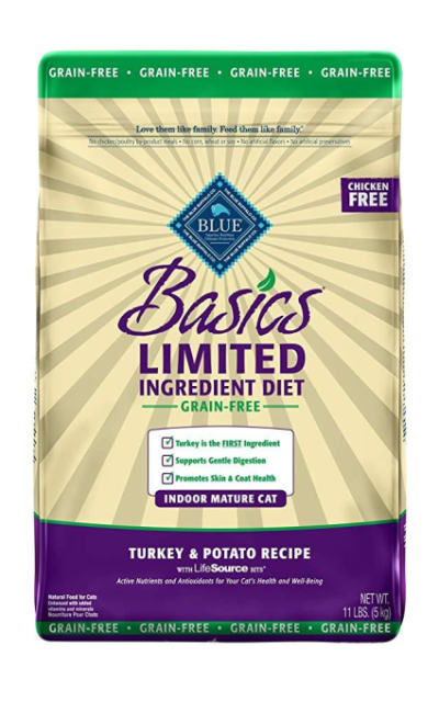 Blue Buffalo Basics Limited Ingredient Diet Grain Free, Natural Indoor Mature Dry Cat Food