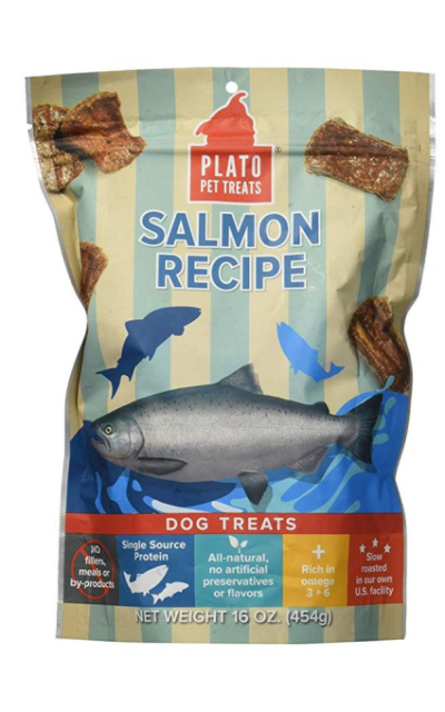 PLATO Dog Treats -- Natural Salmon -- Pet Treats Made in the USA