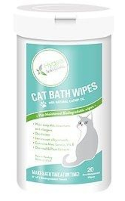 Hygea Natural Cat Bath Wipes with Catnip, Cat Wipes for Bathing