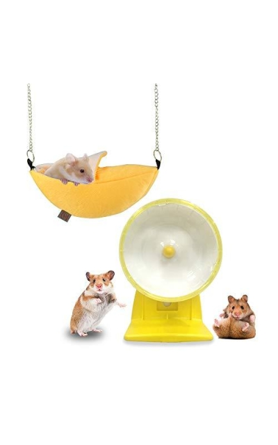 Palmula Hamster Exercise Wheel Silent Spinner,Banana Hamster Bed for Mice and Other Small Animals