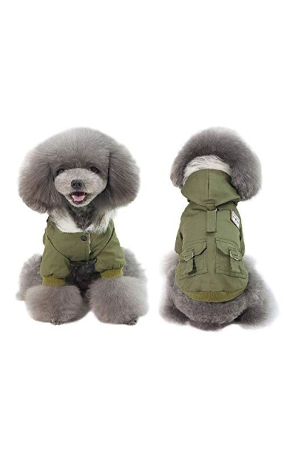 AprilWu Warm Dog Hooded Trench Coat Windproof Parka Jacket