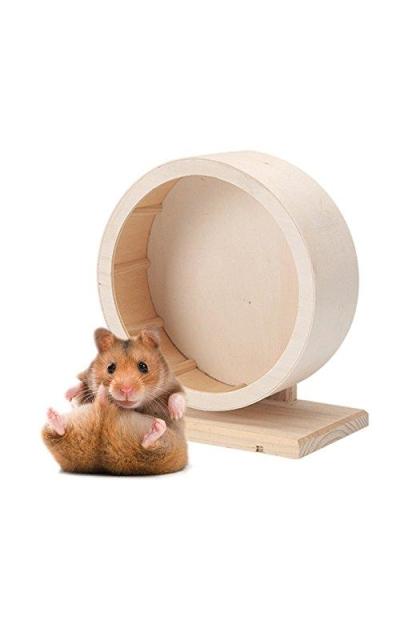 Petacc Pet Wooden Exercise Wheel Mute Hamster Running Wheel