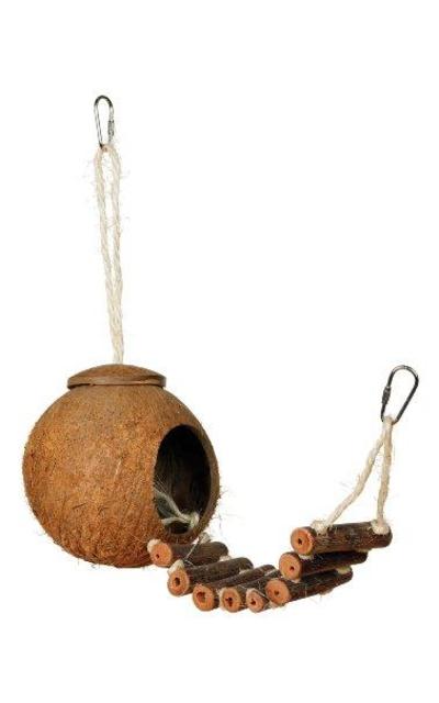 Prevue Hendryx 62801 Naturals Coco Hideaway with Ladder Bird Toy