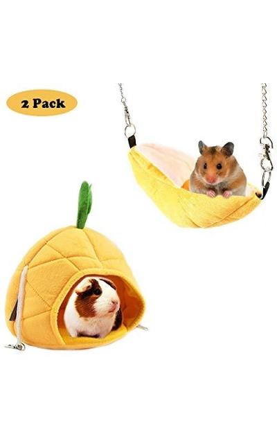 NACOCO 2 Pack Banana & Pineapple Nest for Golden Hamster
