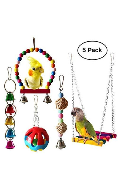 Bwogue 5pcs Bird Parrot Toys Set