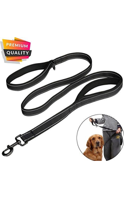 AINIMO Large Dog Leash, Double Handles No Pull Heavy Duty Strong Nylon Dog Leash