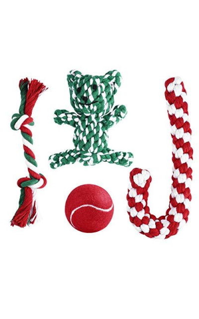 Unomor Pet Christmas Stocking Puppy Dog Chew Toys Personalized for Dogs Including Tennis Balls, Candy Cane, Bear Toy and Cotton Knotted Rope