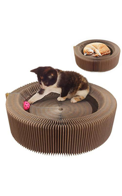AK KYC Cat Scratcher Lounge Bed Collapsible Round Shape Cardboard Scratching Pad