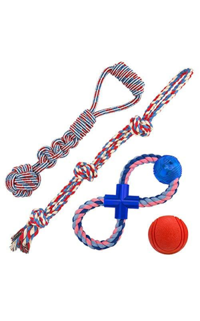 Jekeno Dog Rope Toys Anti-bite Knot Rope Rubber Ball for Aggressive Chewers for Small/Large Dog