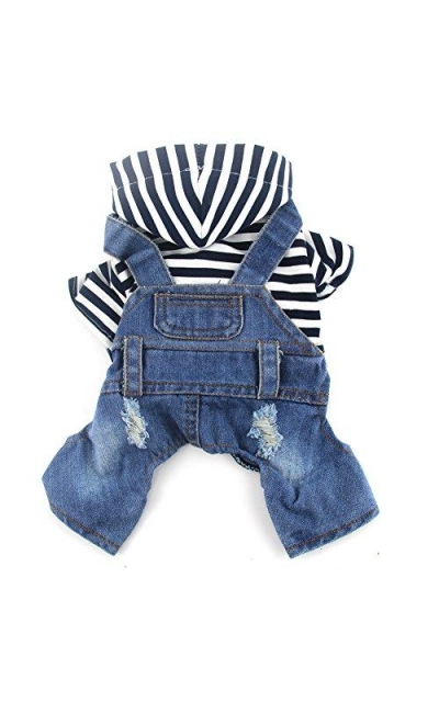 DOGGYZSTYLE Pet Dog Cat Clothes Blue Striped Jeans Jumpsuit