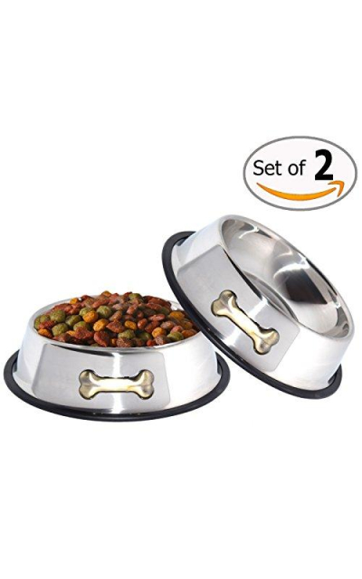 GPET Dog Bowl 32 Oz Stainless Steel Bowls with Anti-Skid Rubber Base