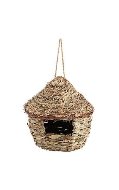 Fdit Handwoven Straw Bird Nest Cage House Hatching Breeding Cave