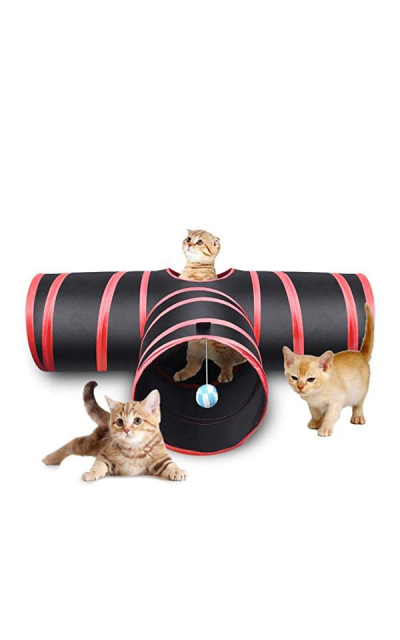 Creaker 3 Way Cat Tunnel, Collapsible Pet Toy Tunnel