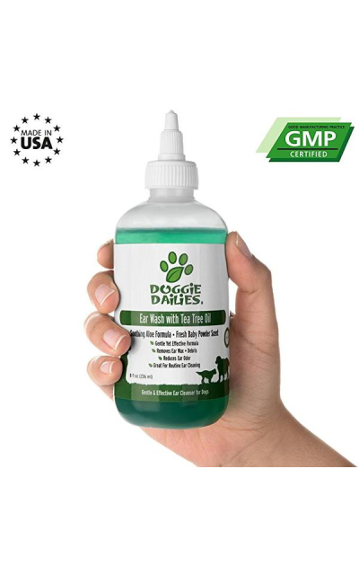 Doggie Dailies Pet Ear Cleaner: Tea Tree Oil, Witch Hazel & Soothing Aloe