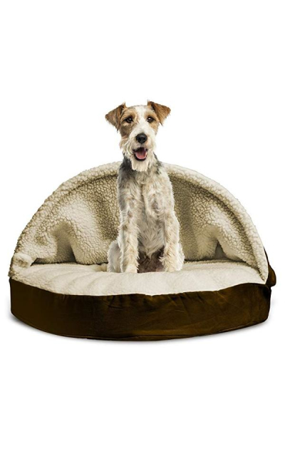 Furhaven Pet Dog Bed|Round Faux Sheepskin Snuggery Burrow Pet Bed for Dogs & Cats