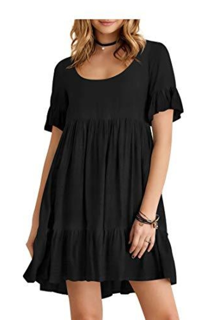 Short Sleeve Ruffle Swing Dress
