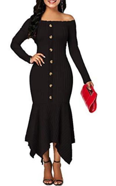 Uotige Off Shoulder Ribbed Dress