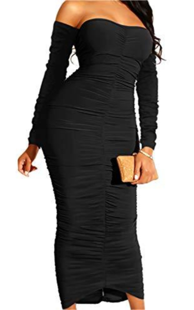 HOMELEX Ruched Bodycon Dress