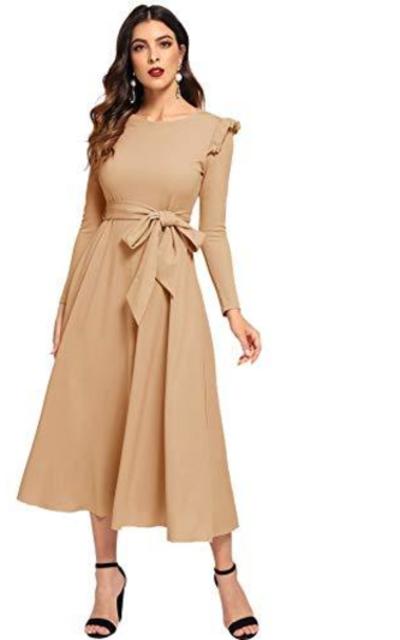 Verdusa Ruffle Belted Dress