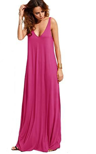 Verdusa Sleeveless Deep V Neck Summer Maxi Dress