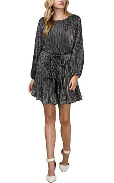 Ribbed Metallic Fit & Flare Party Dress with Braided Belt