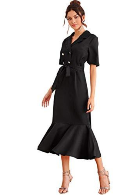 Verdusa Double Breasted Belted Dress