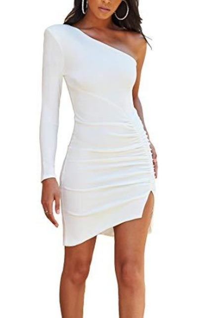 Rozegaga One Shoulder Ruched Backless Side Slit Dress