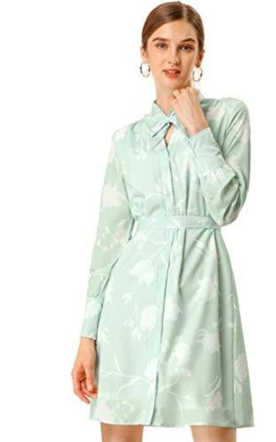 Allegra K Tie Floral Shirt Dress
