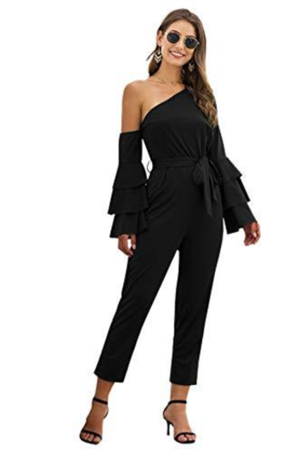 Verdusa s One Shoulder Layered Flounce Sleeve Belted Jumpsuit