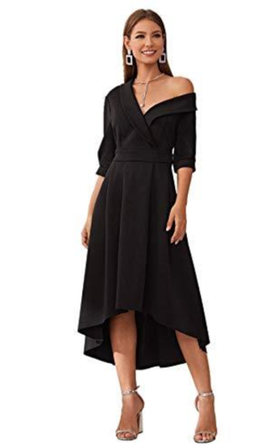 Verdusa Asymmetrical Neck Dress