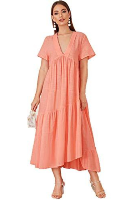 Romwe Plunging Deep V-Neck Swing Maxi Dress